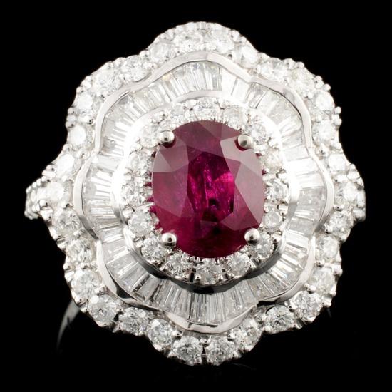 18K Gold 1.62ct Ruby & 1.24ctw Diamond Ring