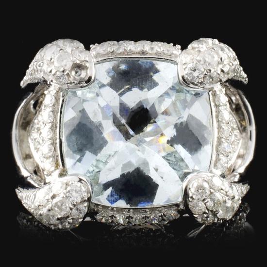18K White Gold 4.29ct Aquamarine & 1.21ct Diamond
