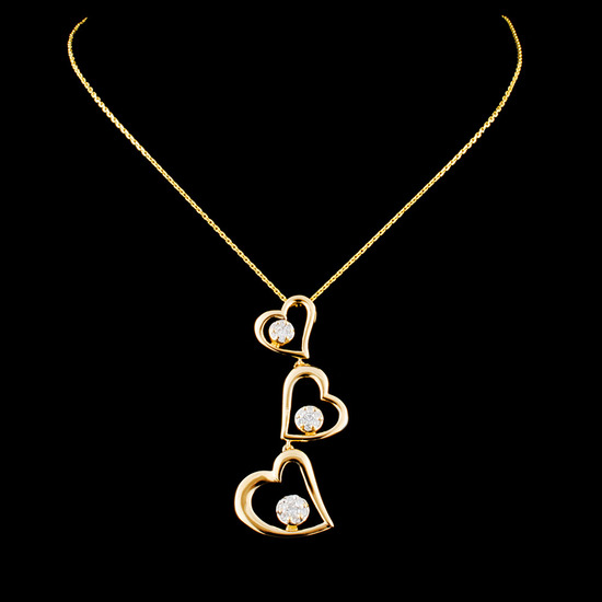 14K Gold 0.22ctw Diamond Pendant