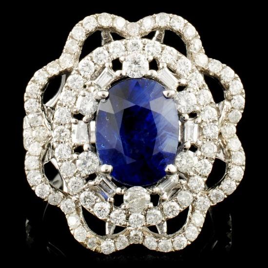 18K Gold 4.03ct Sapphire & 1.67ctw Diamond ring