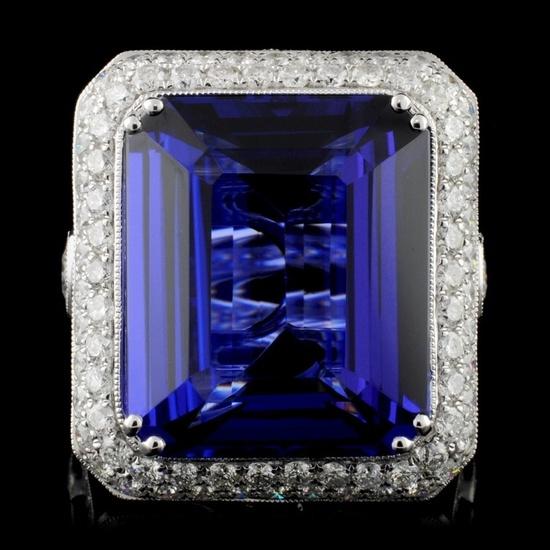 18K White Gold 21.50ct Tanzanite & 3.93ct Diamond