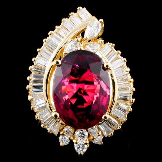 14K Gold 5.83ct Tourmaline & 1.23ctw Diamond Ring
