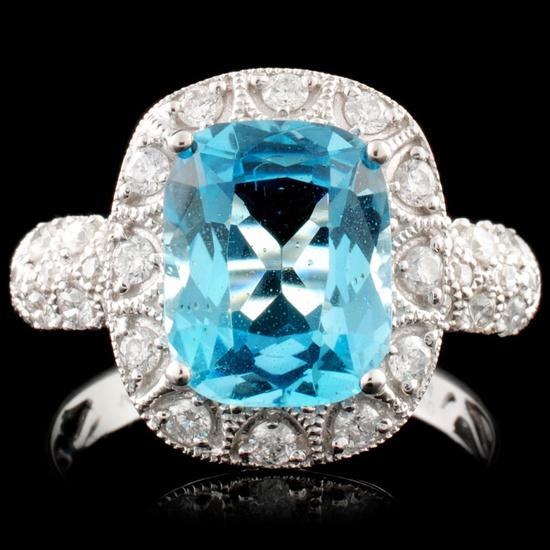 14K Gold 3.24ct Topaz & 0.50ctw Diamond Ring