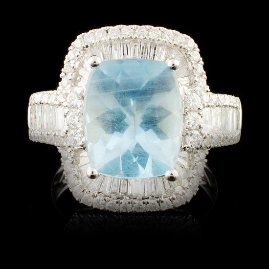14K Gold 3.43ct Aquamarine & 1.30ctw Diamond Ring