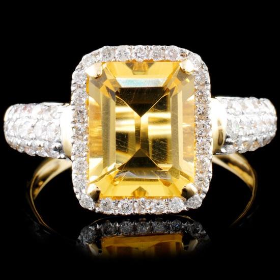 14K Gold 2.00ct Citrine & 0.52 Diamond Ring