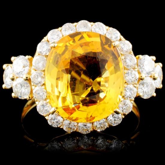 18K Gold 5.35ct Sapphire & 1.35ctw Diamond Ring