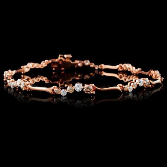 14K Rose Gold 2.12ctw Fancy Color Diamond Bracelet