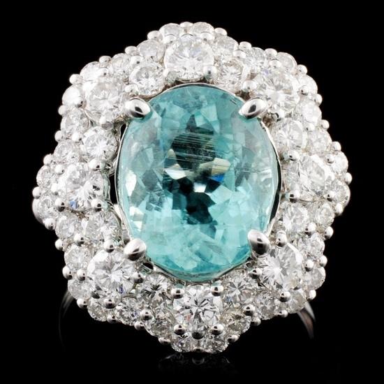18K Gold 4.30ct Paraiba & 2.05ctw Diamond Ring