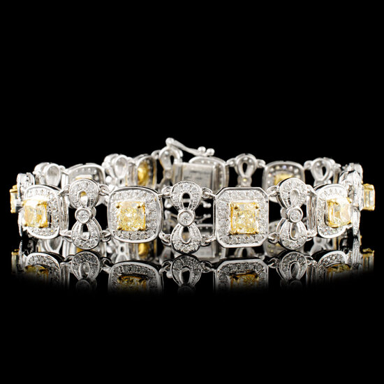 18K Gold 7.59ctw Fancy Diamond Bracelet