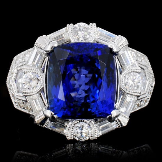 18K Gold 7.65ct Tanzanite & 1.76ct Diamond Ring