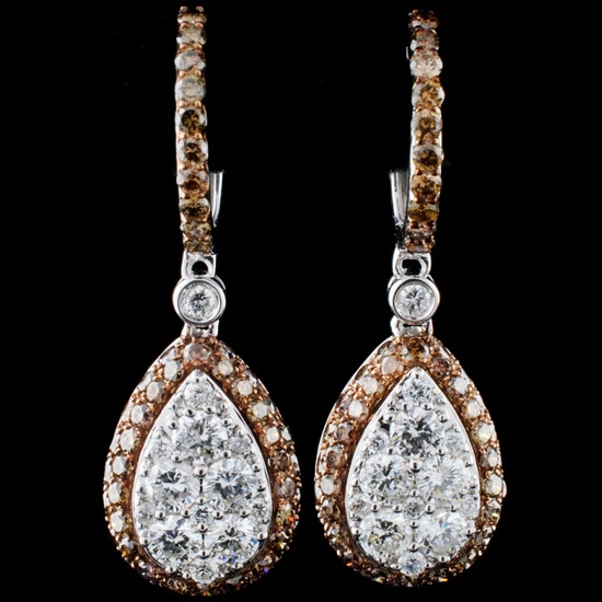 14K White Gold 2.53ctw Fancy Color Diamond Earring