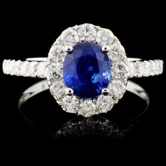 18K Gold 1.29ct Sapphire & 0.79ct Diamond Ring