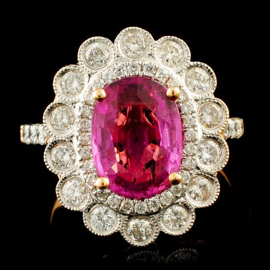18K Gold 3.02ct Sapphire & 0.99ctw Diamond Ring