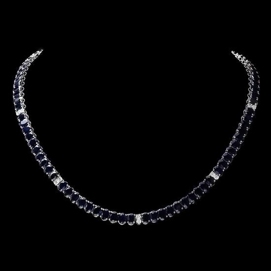 14k Gold 55.00ct Sapphire & 1.30ct Diamond Neckla
