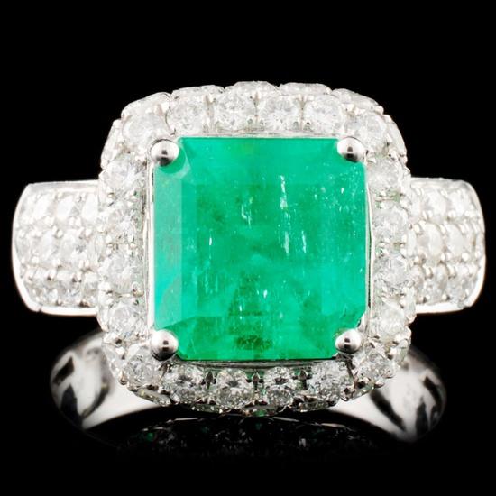 18K Gold 3.07ct Emerald & 2.29ctw Diamond Ring