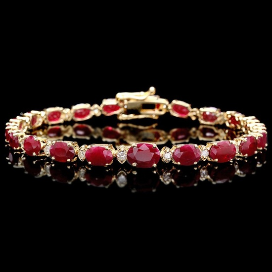 14k Gold 15.00ct Ruby & 0.50ct Diamond Bracelet