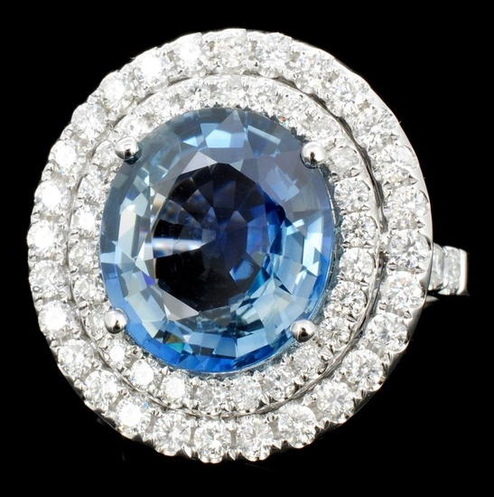 18K Gold 6.74ct Sapphire & 1.31ct Diamond Ring