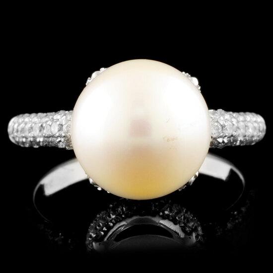 14K Gold 11.00MM Pearl & 0.94ctw Diamond Ring