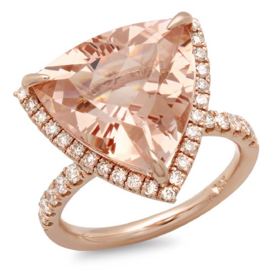 14K Gold 10.00ct Morganite & 0.65ct Diamond Ring