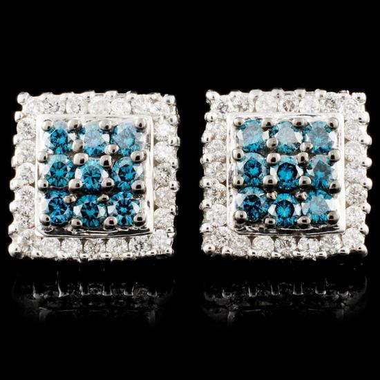14K Gold 1.33ctw Fancy Color Diamond Earrings