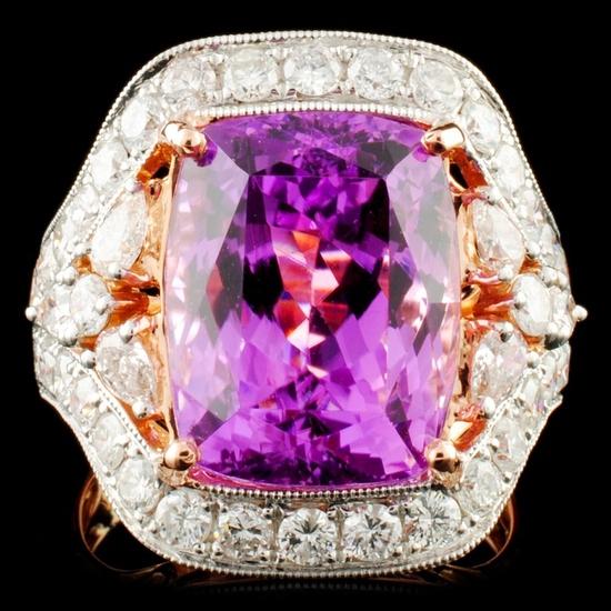 14K Gold 11.25ct Kunzite & 1.90ctw Diamond Ring