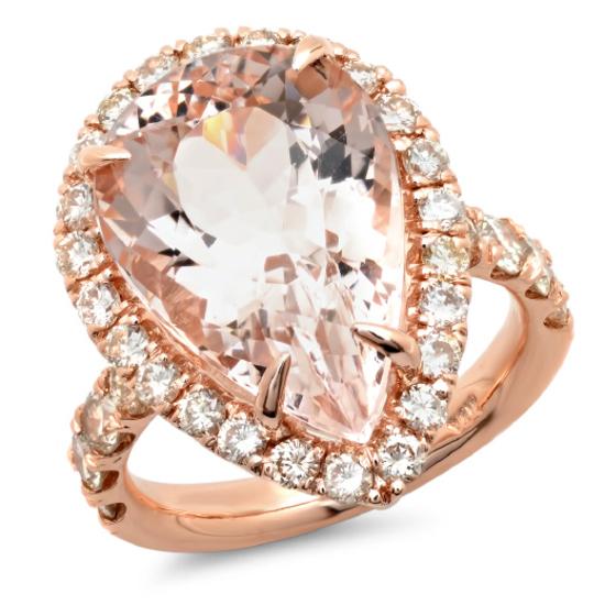 14K Gold 11.00ct Morganite & 1.75ct Diamond Ring