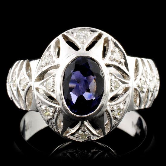 14K Gold 0.73ct Sapphire & 0.26ctw Diamond Ring