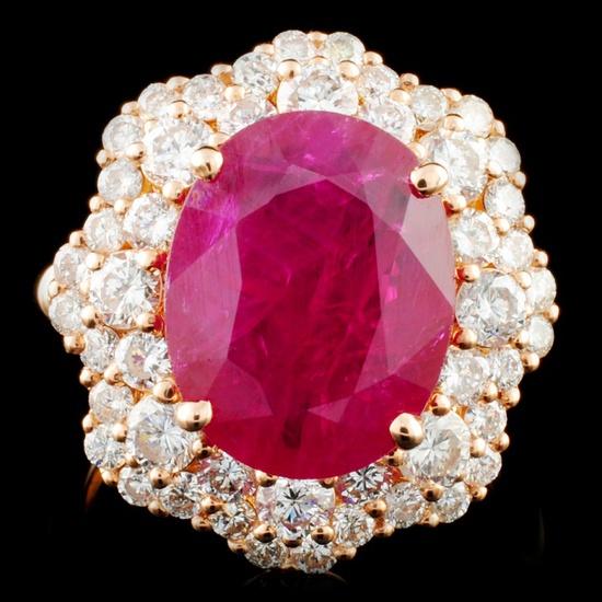 18K Gold 5.67ct Ruby & 2.08ctw Diamond Ring