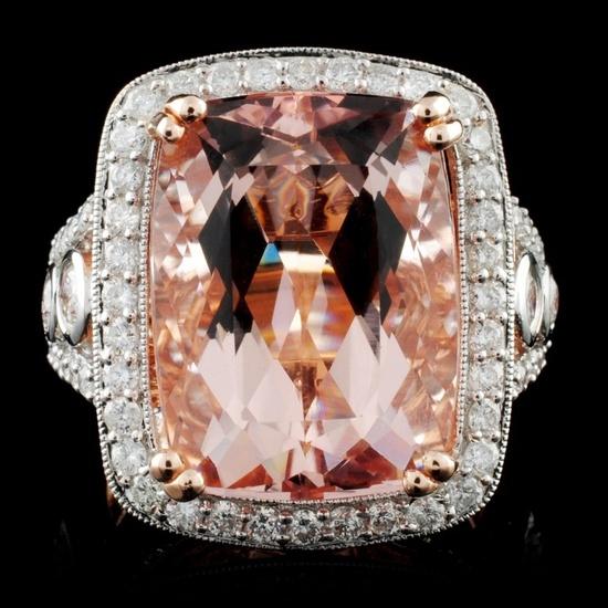 14K Rose Gold 12.25ct Morganite & 1.56ct Diamond R