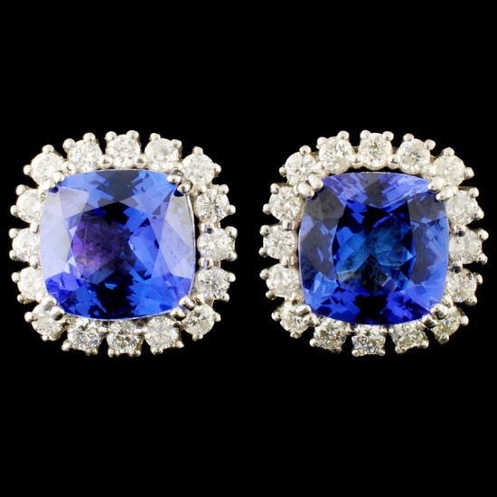 14K Gold 5.54ct Tanzanite & 1.08ctw Diamond Earrin
