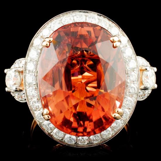 14K Rose Gold 16.14ct Tourmaline & 1.51ctw Diamond