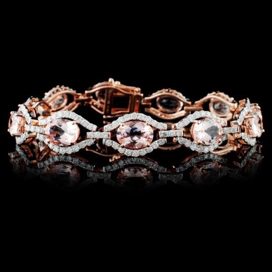 14K Rose Gold 13.68ct Morganite & 3.53ctw Diamond