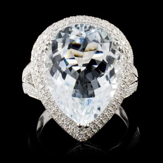 14K White Gold 7.16ct Aquamarine & 0.75ct Diamond