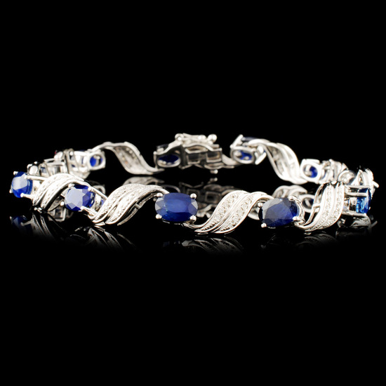14K Gold 6.84ct Sapphire & 0.27ctw Diamond Bracele