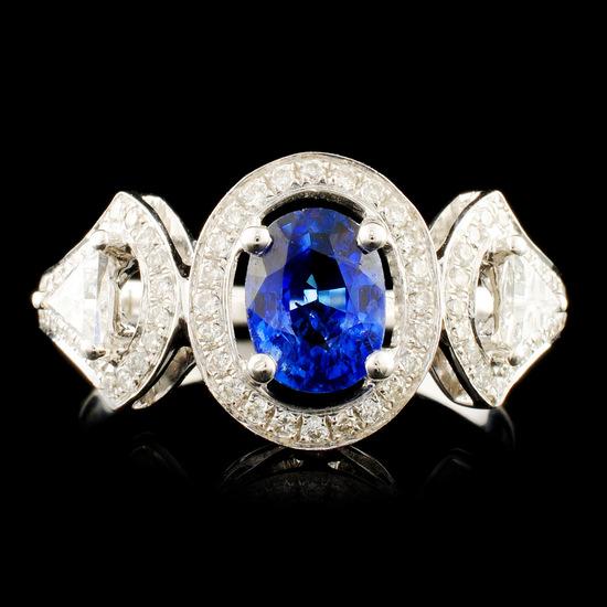 18K Gold 0.88ct Sapphire & 0.44ctw Diamond Ring