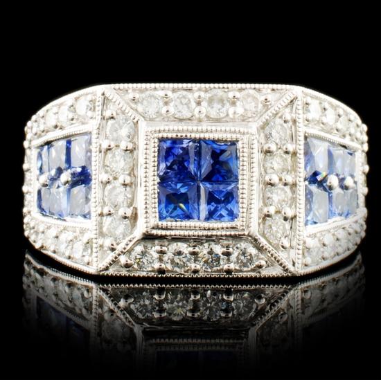 18K Gold 2.11ct Sapphire & 0.74ctw Diamond Ring