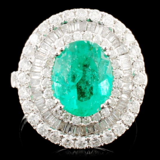 18K Gold 2.31ct Emerald & 1.71ctw Diamond Ring