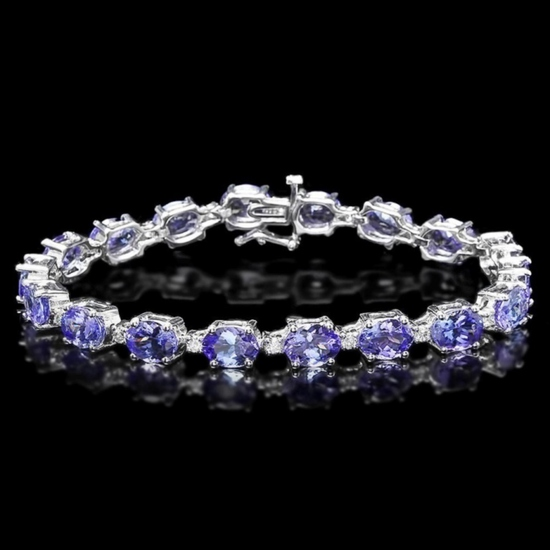 14k Gold 19.00ct Tanzanite & 0.75ct Diamond Brace