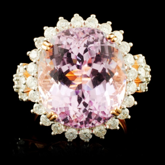 14K Gold 17.00ct Kunzite & 1.32ctw Diamond Ring