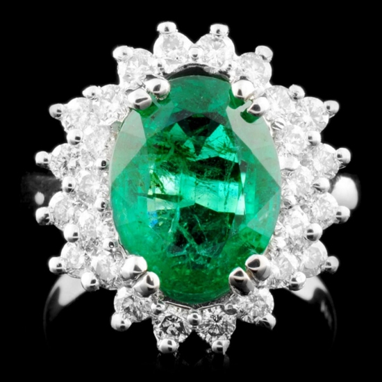 14K Gold 3.88ct Emerald & 1.00ctw Diamond Ring