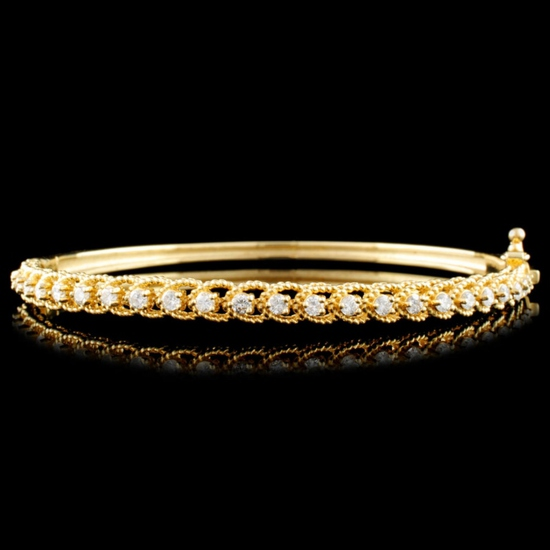 14K Gold 0.78ctw Diamond Bangle