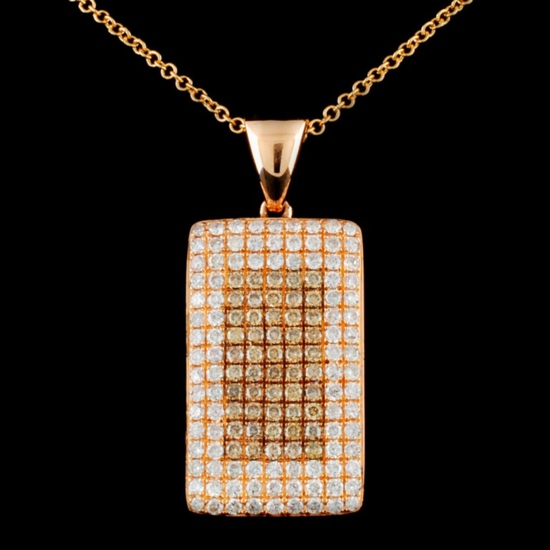 14K Gold 1.00ctw Fancy Diamond Pendant
