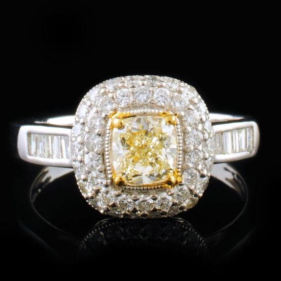 18k White Gold 1.25ctw Fancy Yellow Diamond Ring