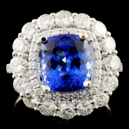 18K Gold 3.53ct Tanzanite 1.74ctw Diamond Ring