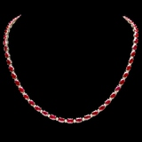14k Gold 27.00ct Ruby & 1.25ct Diamond Necklace
