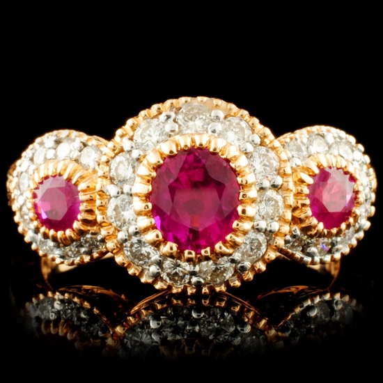 18K Gold 1.06ct Ruby & 0.46ctw Diamond Ring