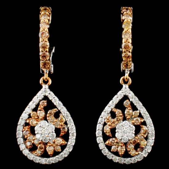 14K Gold 1.07ctw Fancy Color Diamond Earrings