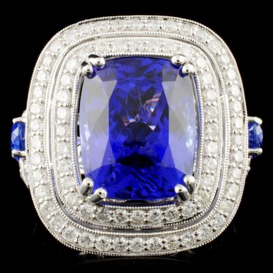 18K Gold 10.44ct Tanzanite & 1.90ctw Diamond Ring