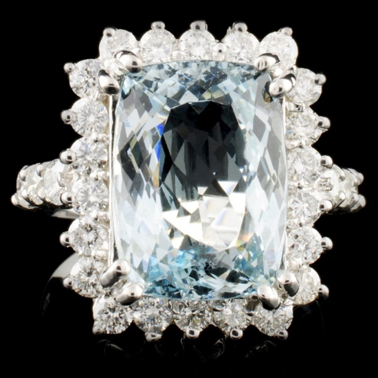 14K Gold 5.20ct Aquamarine & 1.21ctw Diamond Ring