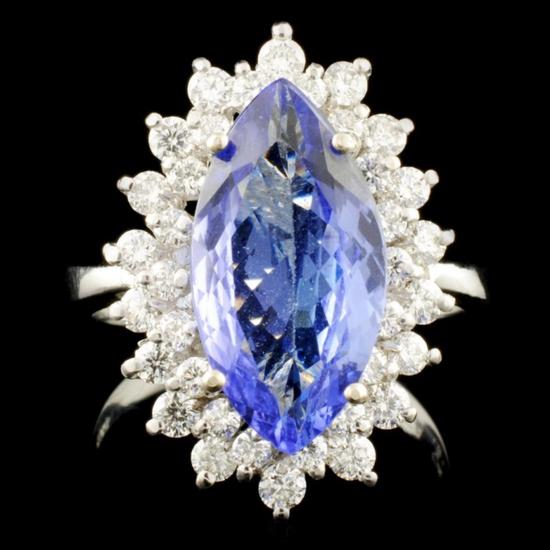 14K Gold 3.34ct Tanzanite & 0.80ctw Diamond Ring